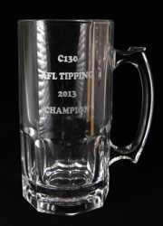 AFL etched beer glass jumbo mug melbourne
